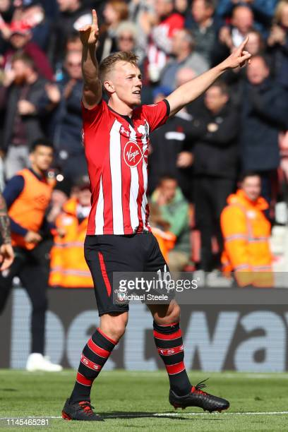 James WardProwse of Southampton celebrates after scoring his team's second goal during the Premier League match between Southampton FC and AFC...