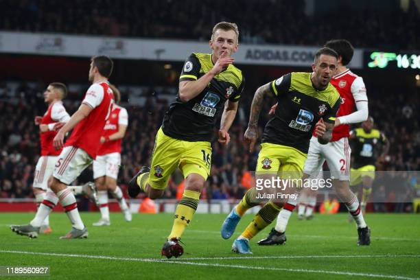 James Ward-Prowse of Southampton celebrates after scoring his team's second goal during the Premier League match between Arsenal FC and Southampton...