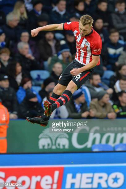 James WardProwse of Southampton celebrates after scoring to make it 01 during the Premier League match between Leicester City and Southampton at King...
