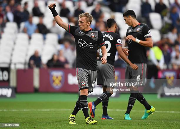 James WardProwse of Southampton celebrates as he scores their third goal during the Premier League match between West Ham United and Southampton at...