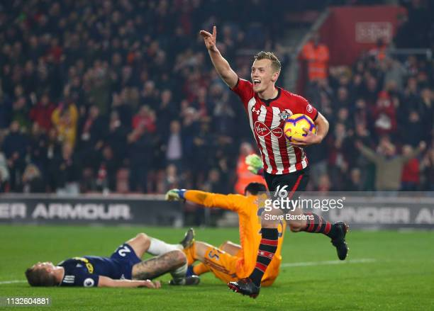 James WardProwse of Southampton celebrates his sides second goal during the Premier League match between Southampton FC and Fulham FC at St Mary's...