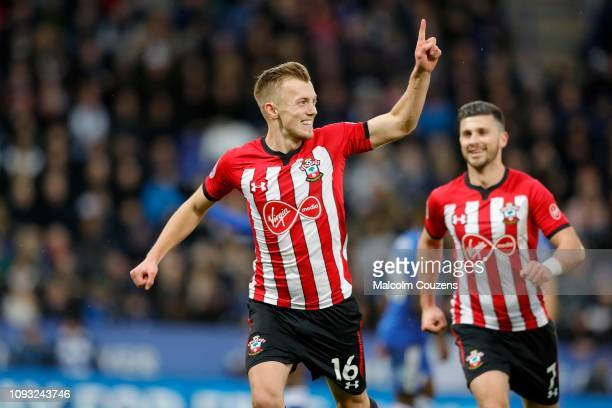 James WardProwse of Southampton celebrates scoring a goal from the penalty spot with Shane Long during the Premier League match between Leicester...
