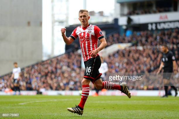 James WardProwse of Southampton celebrates scoring his sides first goal during the Premier League match between Tottenham Hotspur and Southampton at...