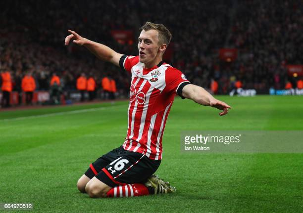 James WardProwse of Southampton celebrates scoring his sides third goal during the Premier League match between Southampton and Crystal Palace at St...