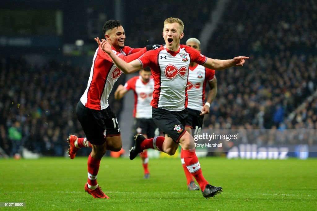 James Ward-Prowse of Southampton celebrates scoring his side's third goal with team mates during the match between West Bromwich Albion and Southampton at The Hawthorns on February 3, 2018 in West Bromwich, England.