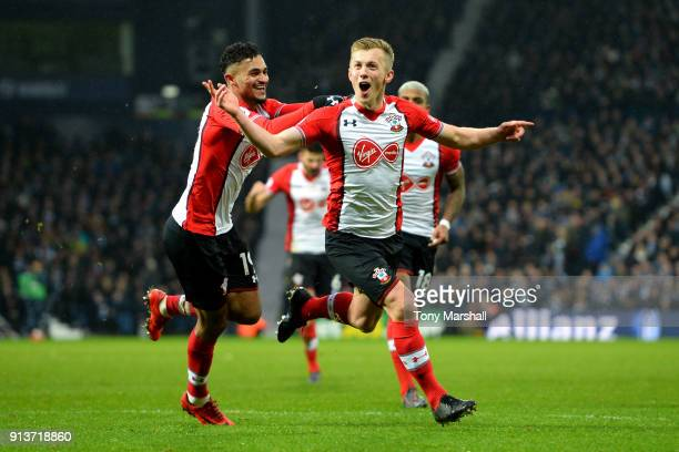 James WardProwse of Southampton celebrates scoring his side's third goal with team mates during the match between West Bromwich Albion and...