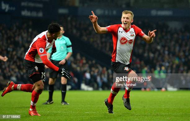 James WardProwse of Southampton celebrates scoring his side's third goal during the match between West Bromwich Albion and Southampton at The...