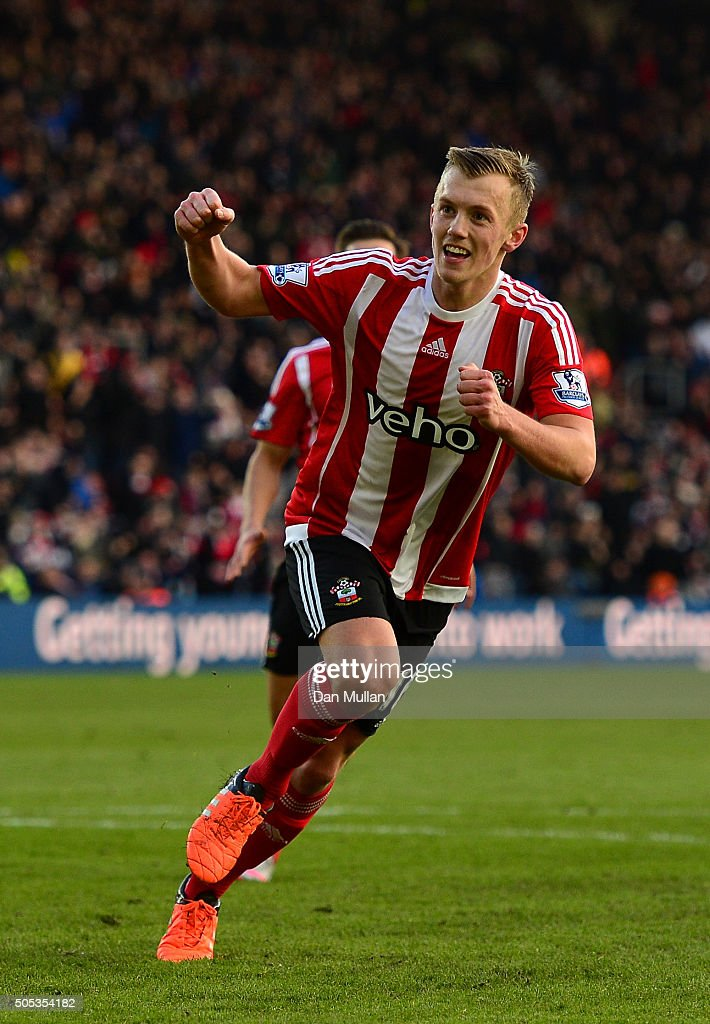 James Ward-Prowse of Southampton celebrates scoring his team's second goal during the Barclays Premier League match between Southampton and West Bromwich Albion at St Mary's Stadium on January 16, 2016 in Southampton, England.