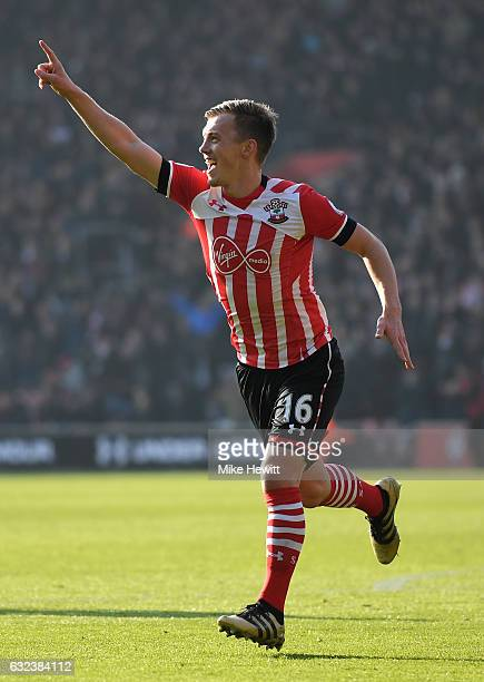 James WardProwse of Southampton celebrates scoring the opening goal during the Premier League match between Southampton and Leicester City at St...