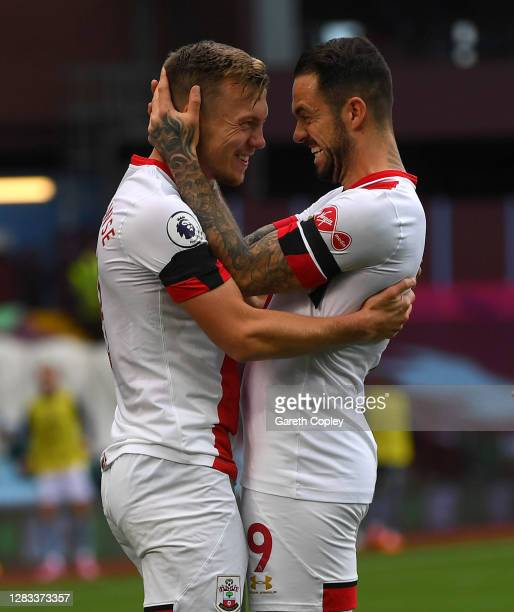 James Ward-Prowse of Southampton celebrates with Danny Ings after scoring his team's second goal during the Premier League match between Aston Villa...
