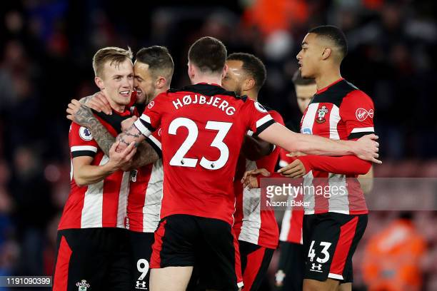 James Ward-Prowse of Southampton celebrates with teammates after scoring his team's second goal during the Premier League match between Southampton...