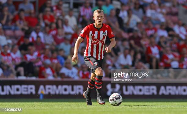 James WardProwse of Southampton controls the ball during the preseason friendly match between Southampton and Borussia Monchengladbach at St Mary's...