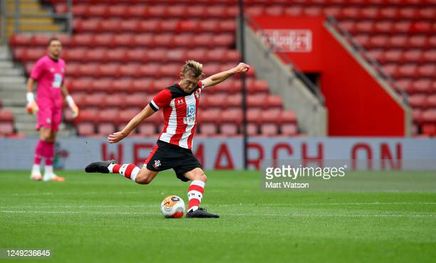 James WardProwse of Southampton during a friendly match between Southampton FC and Bristol City ahead of the Premier League restart at St Mary's...