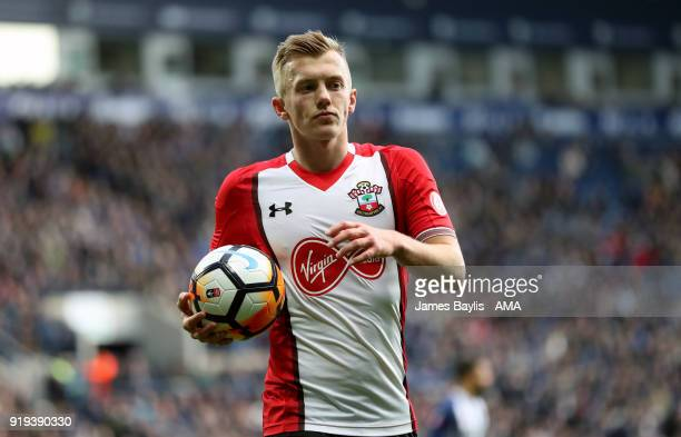 James WardProwse of Southampton during The Emirates FA Cup Fifth Round match between West Bromwich Albion and Chelsea at The Hawthorns on February 17...