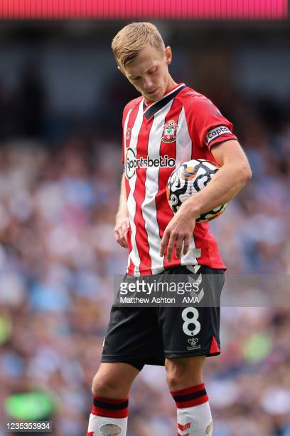 James Ward-Prowse of Southampton during the Premier League match between Manchester City and Southampton at Etihad Stadium on September 18, 2021 in...