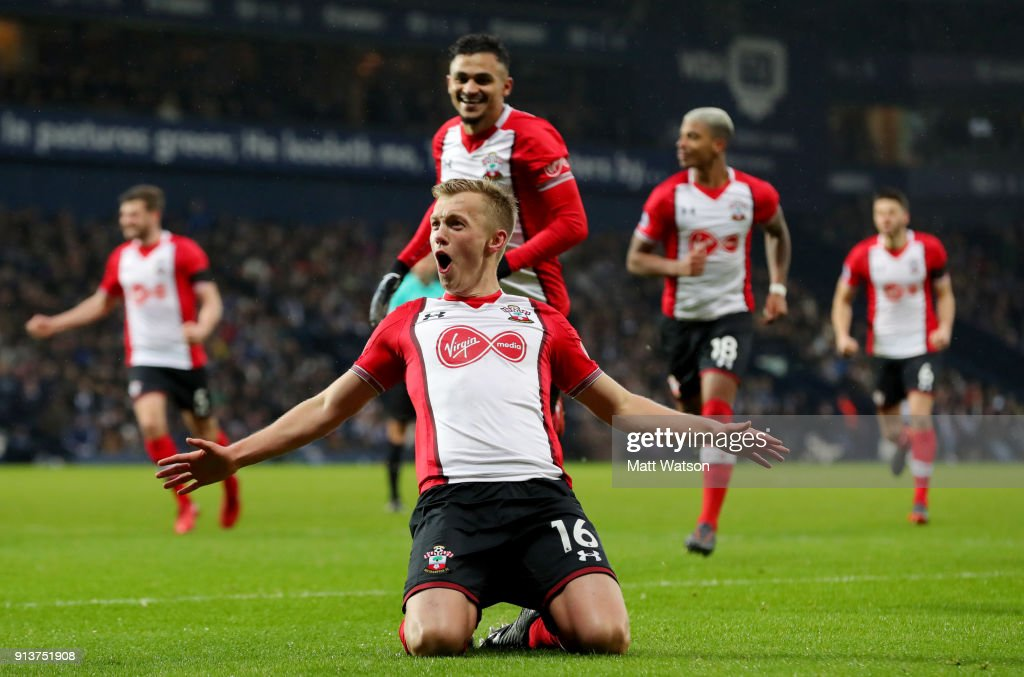 James Ward-Prowse of Southampton FC celebrates after scoring from a free kick during the Premier League match between West Bromwich Albion and Southampton at The Hawthorns on February 3, 2018 in West Bromwich, England.