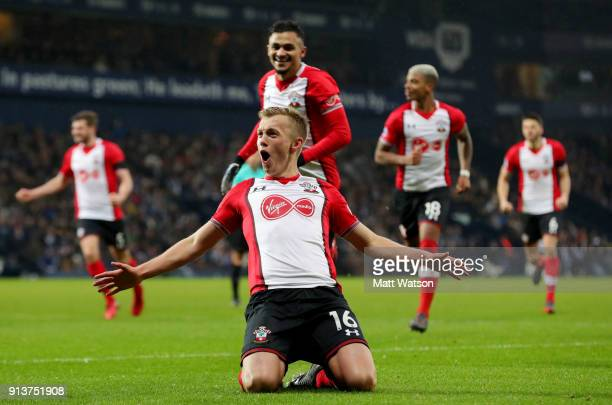 James WardProwse of Southampton FC celebrates after scoring from a free kick during the Premier League match between West Bromwich Albion and...