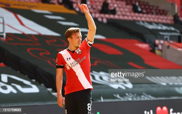 James Ward-Prowse of Southampton gestures during the Premier League match between Southampton and Burnley at St Mary's Stadium on April 04, 2021 in...