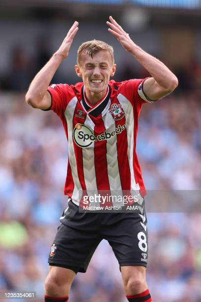 James Ward-Prowse of Southampton gets emotional during the Premier League match between Manchester City and Southampton at Etihad Stadium on...