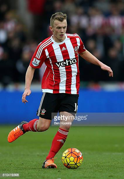 James WardProwse of Southampton in action during the Barclays Premier League match between Swansea City and Southampton at the Liberty Stadium on...