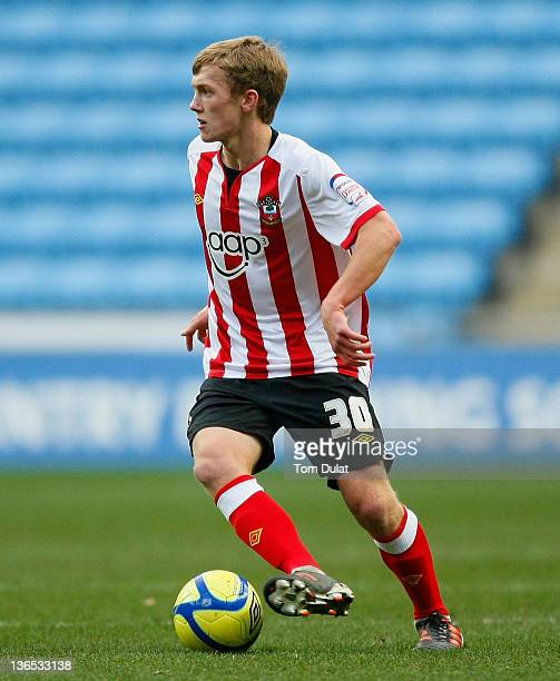 James WardProwse of Southampton in action during the FA Cup 3rd round match between Coventry City and Southampton at the Ricoh Arena on January 07...