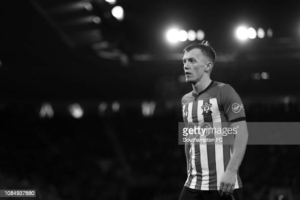 James WardProwse of Southampton in action during the FA Cup Third Round Replay match between Southampton FC and Derby County at St Mary's Stadium on...