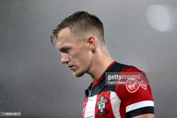 James WardProwse of Southampton in action during the Premier League match between Southampton FC and Leicester City at St Mary's Stadium on October...