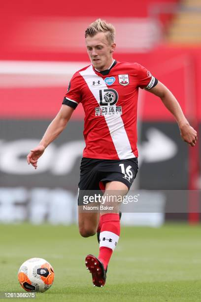 James WardProwse of Southampton in action during the Premier League match between Southampton FC and Sheffield United at St Mary's Stadium on July 26...