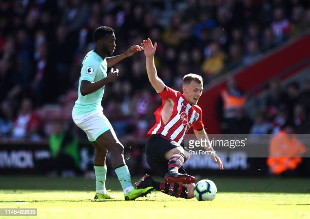 James WardProwse of Southampton is fouled by Jefferson Lerma of AFC Bournemouth during the Premier League match between Southampton FC and AFC...