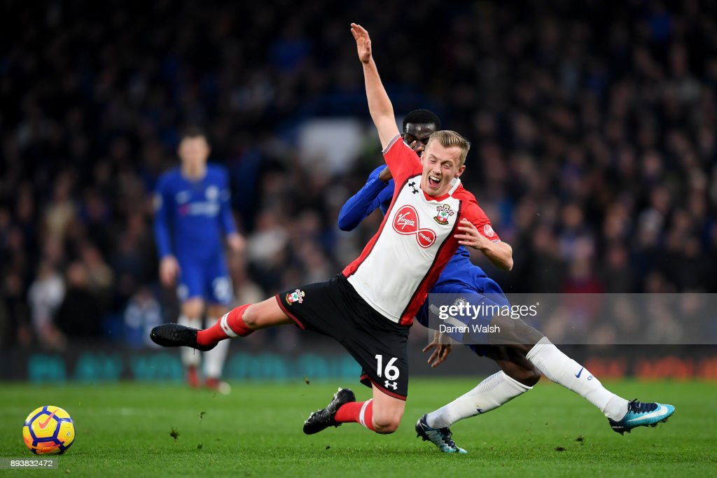 James Ward-Prowse of Southampton is tackled by Tiemoue Bakayoko of Chelsea during the Premier League match between Chelsea and Southampton at Stamford Bridge on December 16, 2017 in London, England.