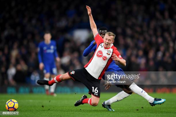 James WardProwse of Southampton is tackled by Tiemoue Bakayoko of Chelsea during the Premier League match between Chelsea and Southampton at Stamford...