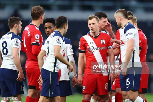 James Ward-Prowse of Southampton looks on during the Premier League match between Tottenham Hotspur and Southampton at Tottenham Hotspur Stadium on...
