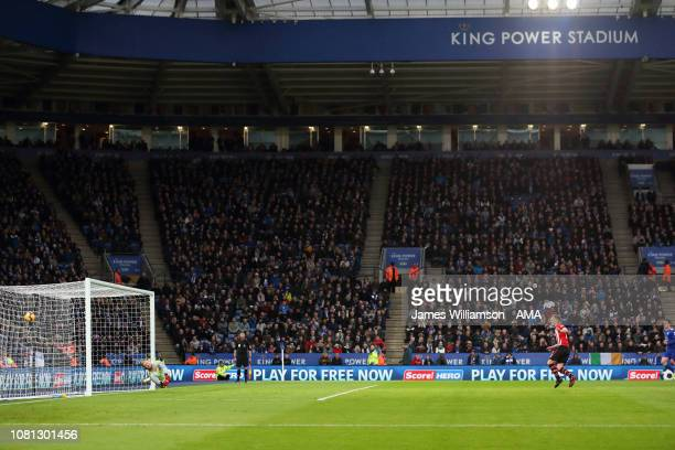 James WardProwse of Southampton scores a goal to make it 10 during the Premier League match between Leicester City and Southampton FC at The King...