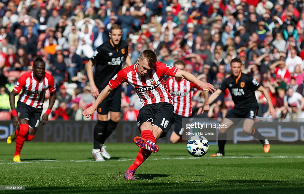 James Ward-Prowse of Southampton scores from a penalty during the Barclays Premier League match between Southampton and Hull City at St Mary's Stadium on April 11, 2015 in Southampton, England.