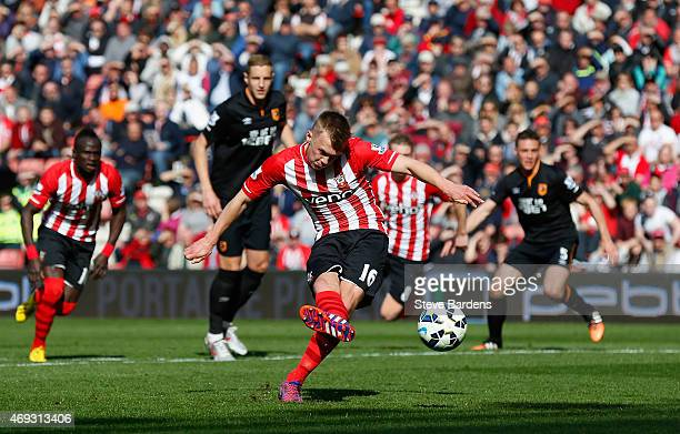 James WardProwse of Southampton scores from a penalty during the Barclays Premier League match between Southampton and Hull City at St Mary's Stadium...