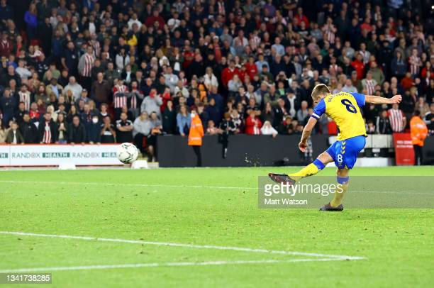 James Ward-Prowse of Southampton scores his penalty during the Carabao Cup Third Round match between Sheffield United and Southampton at Bramall Lane...