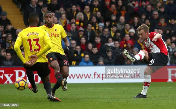 James WardProwse of Southampton scores his sides first goal during the Premier League match between Watford and Southampton at Vicarage Road on...