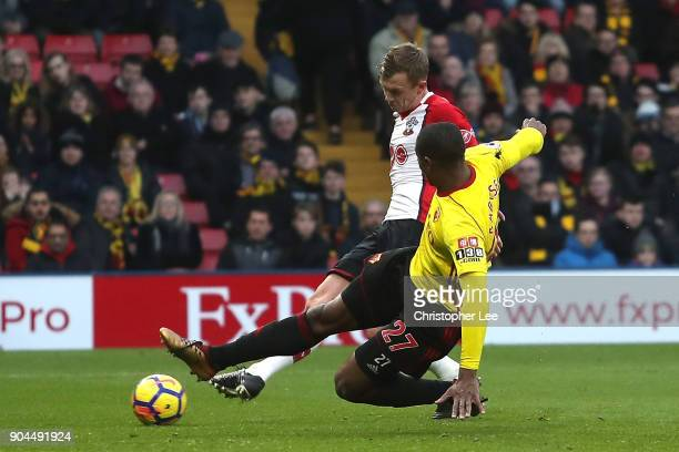 James WardProwse of Southampton scores his sides second goal as Christian Kabasele of Watford attempts to block during the Premier League match...