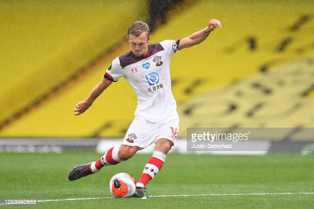 James Ward-Prowse of Southampton scores his sides third goal from a free kick during the Premier League match between Watford FC and Southampton FC...