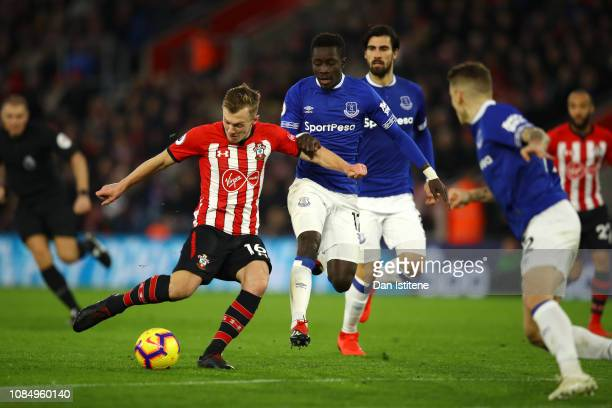 James WardProwse of Southampton scores his team's first goal during the Premier League match between Southampton FC and Everton FC at St Mary's...