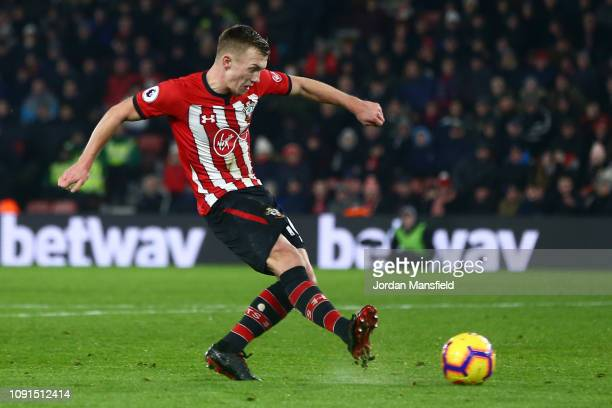 James WardProwse of Southampton scores his team's first goal during the Premier League match between Southampton FC and Crystal Palace at St Mary's...