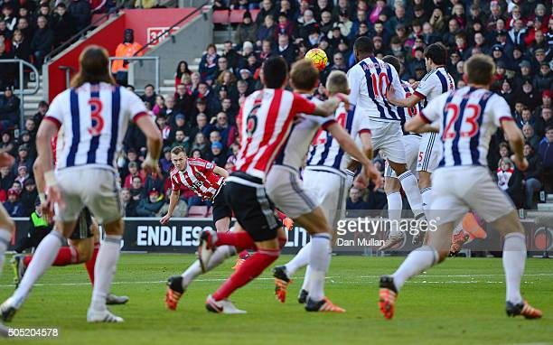 James WardProwse of Southampton scores his team's first goal during the Barclays Premier League match between Southampton and West Bromwich Albion at...