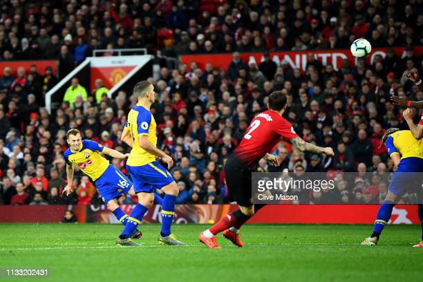 James WardProwse of Southampton scores his team's second goal during the Premier League match between Manchester United and Southampton FC at Old...