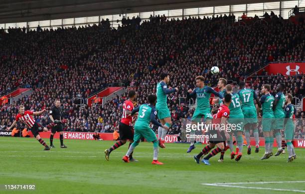 James WardProwse of Southampton scores his team's second goal during the Premier League match between Southampton FC and Tottenham Hotspur at St...