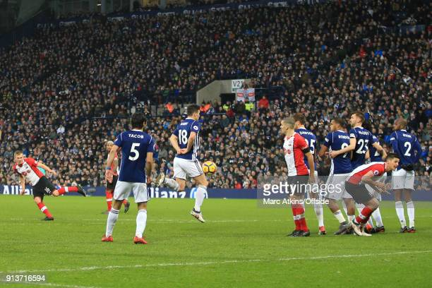 James WardProwse of Southampton scores their 3rd goal during the Premier League match between West Bromwich Albion and Southampton at The Hawthorns...