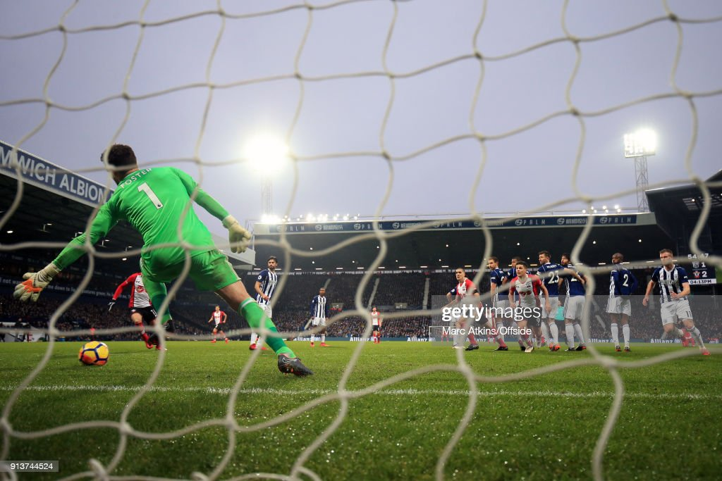 James Ward-Prowse (obscured) of Southampton scores their 3rd goal from a free kick during the Premier League match between West Bromwich Albion and Southampton at The Hawthorns on February 3, 2018 in West Bromwich, England.
