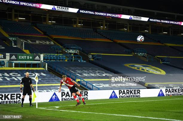 James Ward-Prowse of Southampton takes a corner kick during the Premier League match between Leeds United and Southampton at Elland Road on February...