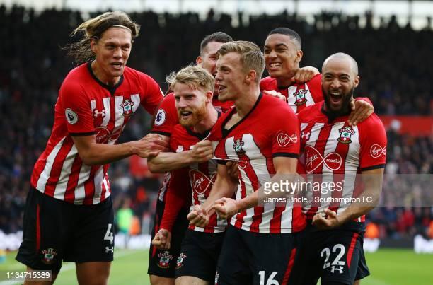 James WardProwse scores for Southampton FC and celebrates with Jannik Vestergaard Josh Sims Yan Valery Nathan Redmond during the Premier League match...