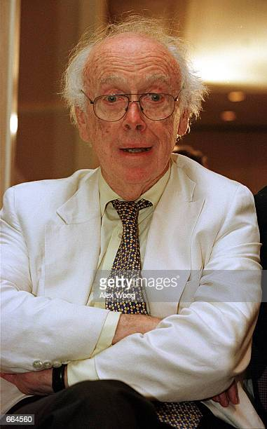 James Watson codiscoverer of the DNA helix attends a press conference on the completion of the first assembly of the human genome June 26 2000 in...