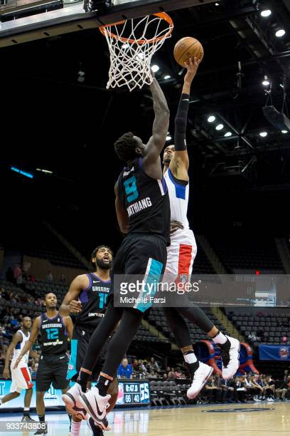 James Webb III goes to the basket against Greensboro Swarm on March 18 2018 at NYCB Live Home of the Nassau Veterans Memorial Coliseum in Uniondale...